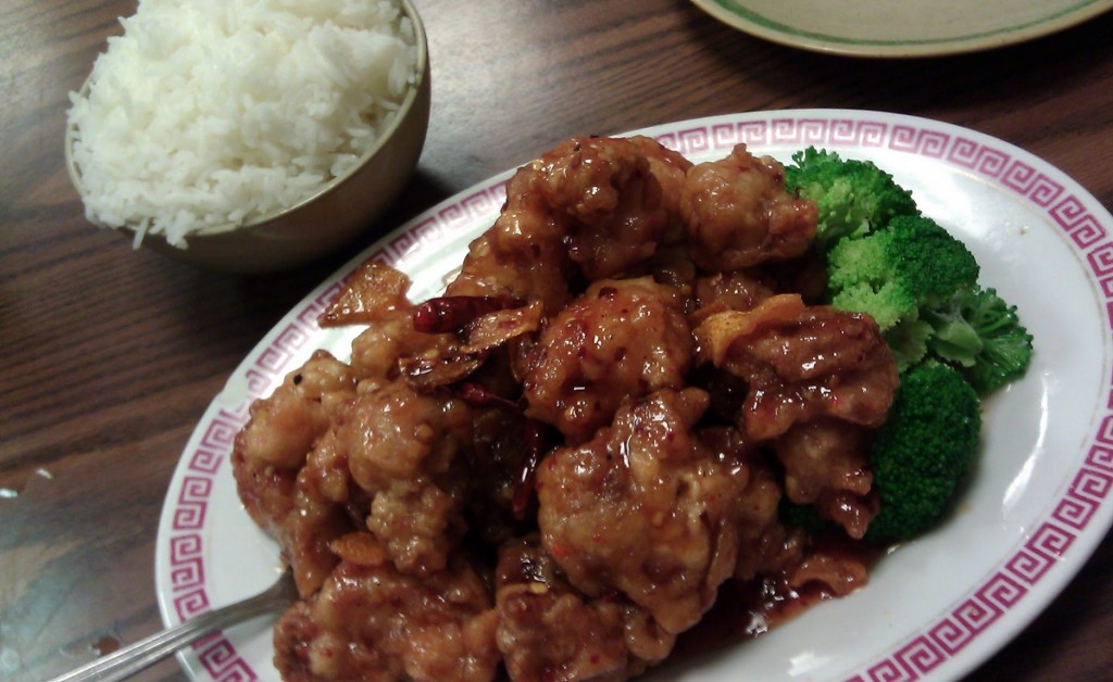 General Gau's CGeneral Tso's Chicken with white rice from King Fung Garden in Chinatownhicken with white rice from King Fung Garden in Chinatown