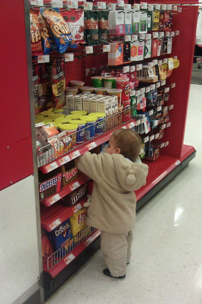 4:18 p.m. He kept going for the Toblerones. I guess he knows better than to choose the waxy American stuff.