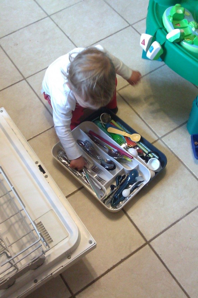 Soren has been helping me with the dishwasher for a few months now, but he's finally become (mostly) independent with the flatware.