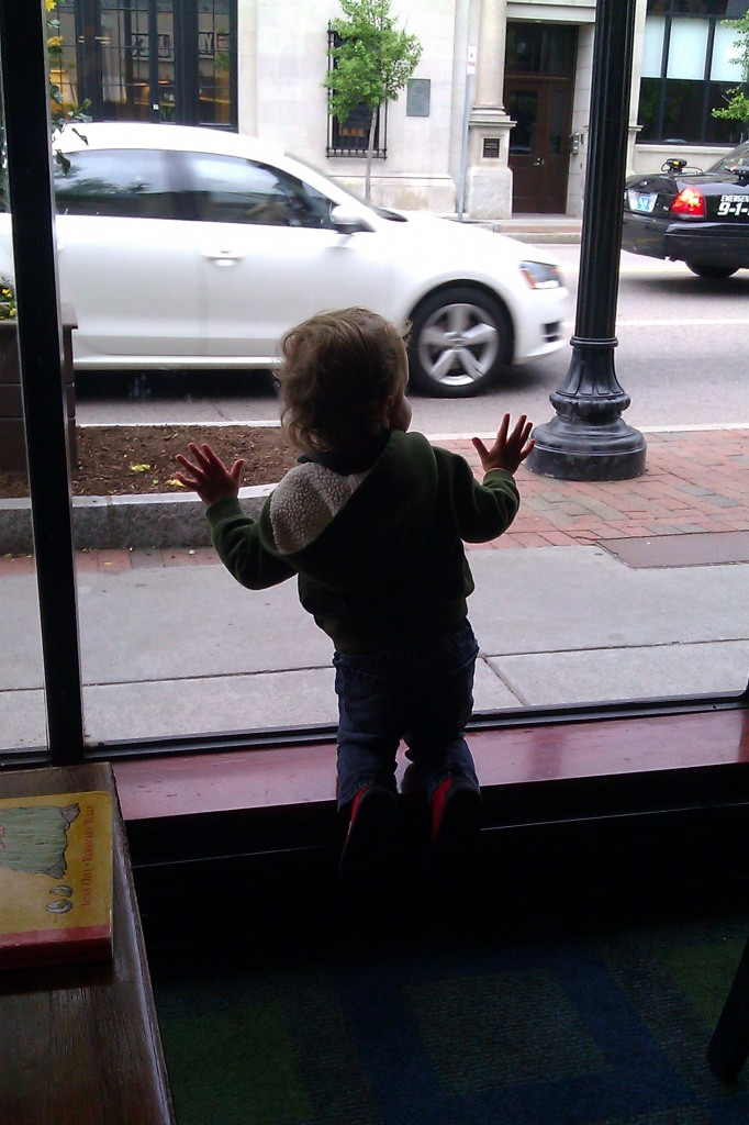 We've learned to always sit by the windows when we eat out. After dinner we let Soren roam free so we could eat dessert. He had no idea what he was missing.