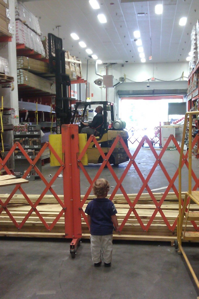 Soren begs to watch the forklift at Home Depot. Sometimes I'm tempted to ask for products on the top shelves, just so he can have his wish come true.