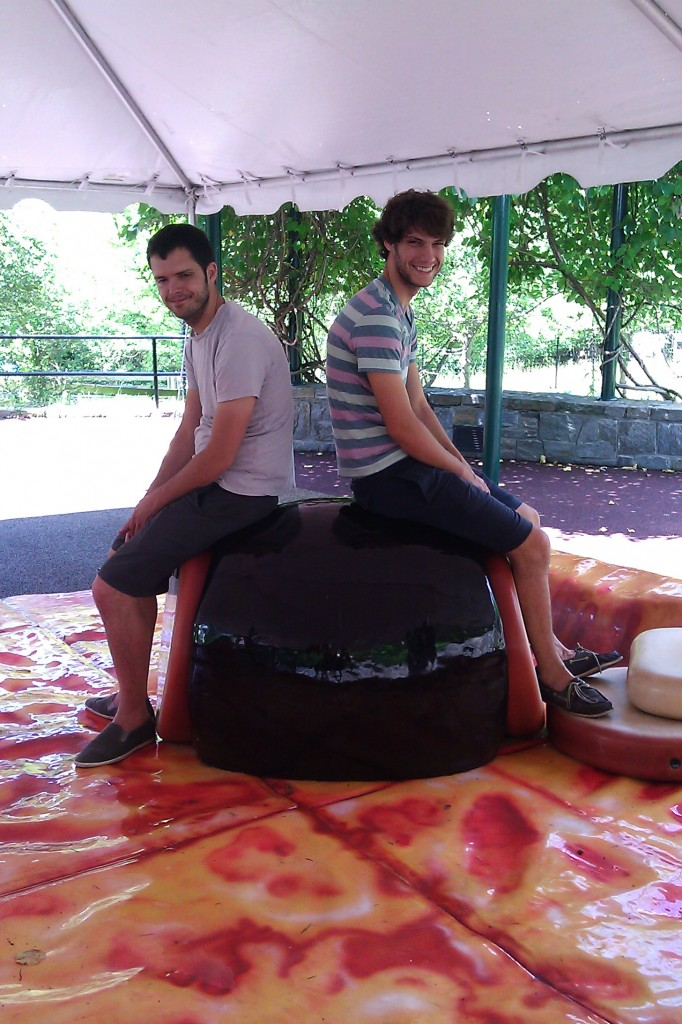 Tim and Uncle Ben played with the nieces atop the giant pizza playground.