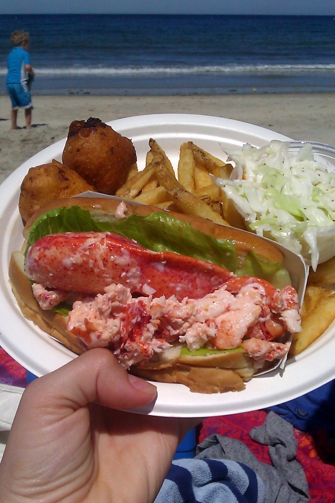 Maybe this meal is the reason I loved this beach day the most. Lobster roll, clam cakes, fries, and cole slaw from Captain Frosty's.