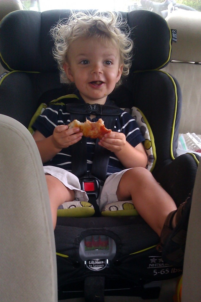 I was planning to keep Soren rear facing for many more months, but Tim convinced me it would be OK to turn him around for our drive to New Hampshire. It might have been the best car ride of Soren's life. (Eating pizza on the go didn't hurt.)