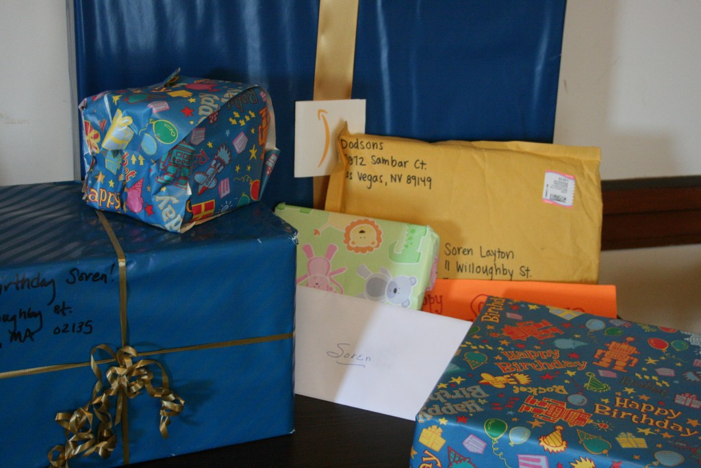 He only ended up opening half of these on his birthday. And I now have a few items tucked away for future celebrations.