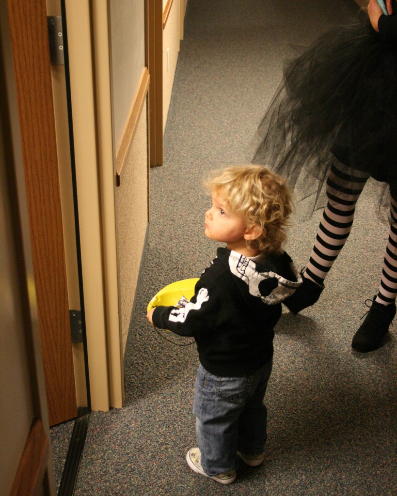 Church door to church door trick or treating. He was over his costume at this point.