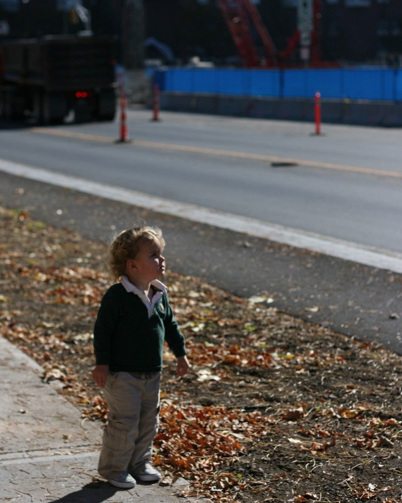 Soren didn't mind being outside one bit. Our church building is surrounded by construction sites.