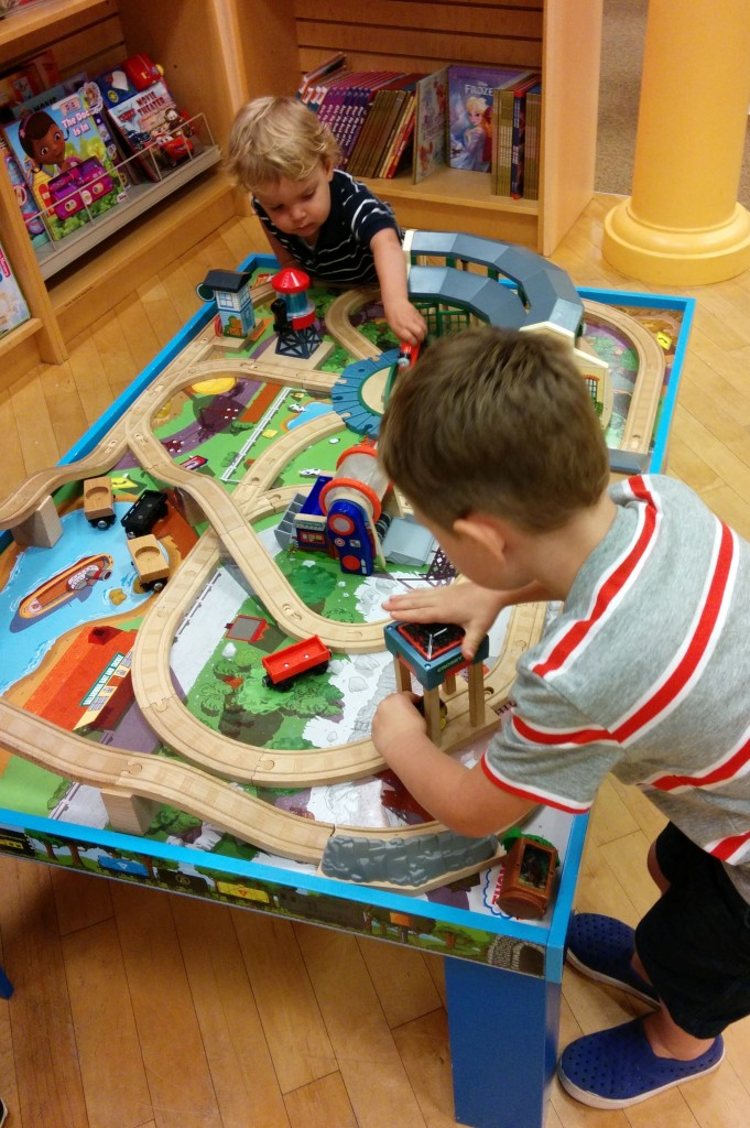 And a train table! The only way we were able to get Soren to leave was by promising him a pizza for dinner.