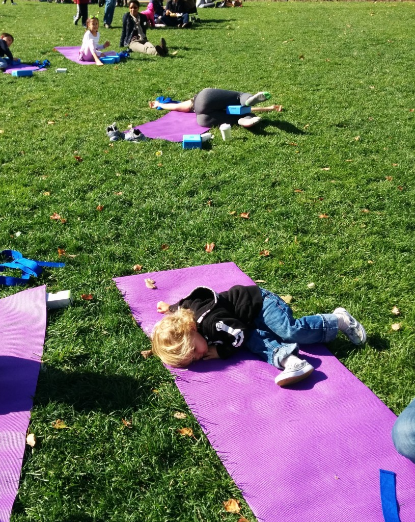 We stumbled upon a yoga session in Copley Square. Soren's imitation of the teacher's pose is kind of impressive.