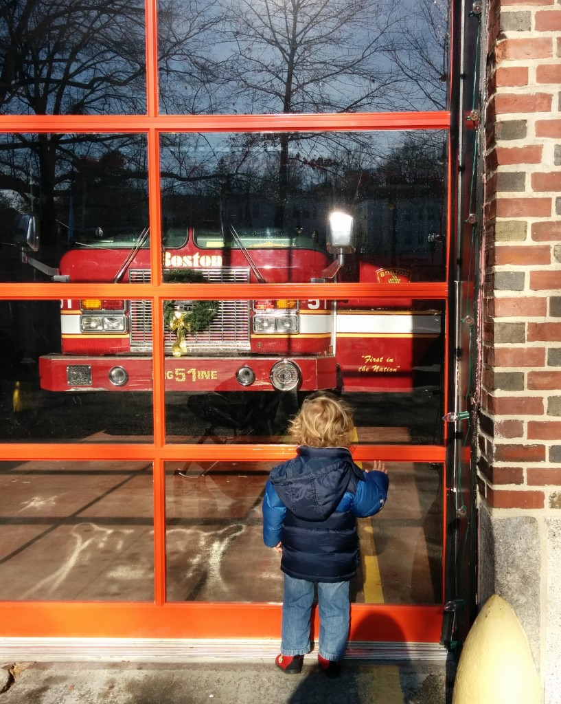 Every Monday after storytime at the library, Soren veers right when we should be heading left to go home. The fire station is like a magnet for my boy.