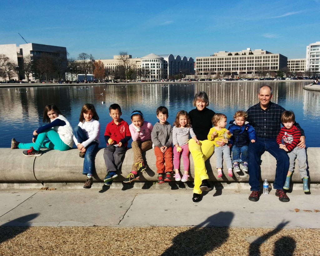 The day was too perfect to stop there (60 degrees!) so we had a picnic by the reflecting pool. Nine cousins and two grandparents.