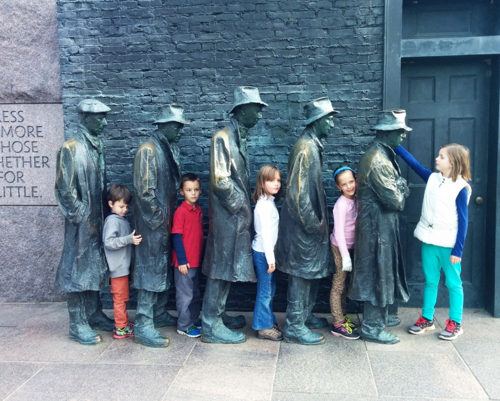 There is probably no memorial more fun and picture-worthy than the FDR.  Here are a few cousins waiting in a bread line.