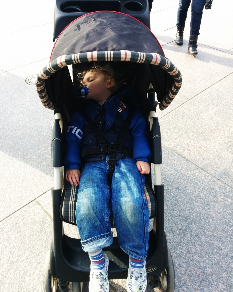 I couldn't bear to go back home with such dreamy weather, so we opted for a stroller nap. No complaints from this kid.