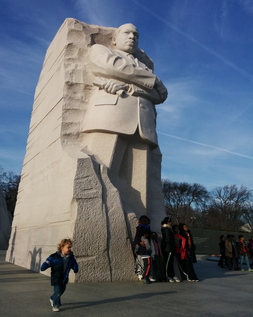 I had parked by the Martin Luther King, Jr. monument, so we spent a few minutes there before heading home. Soren ran circles around the giant MLK for a good 15 minutes.