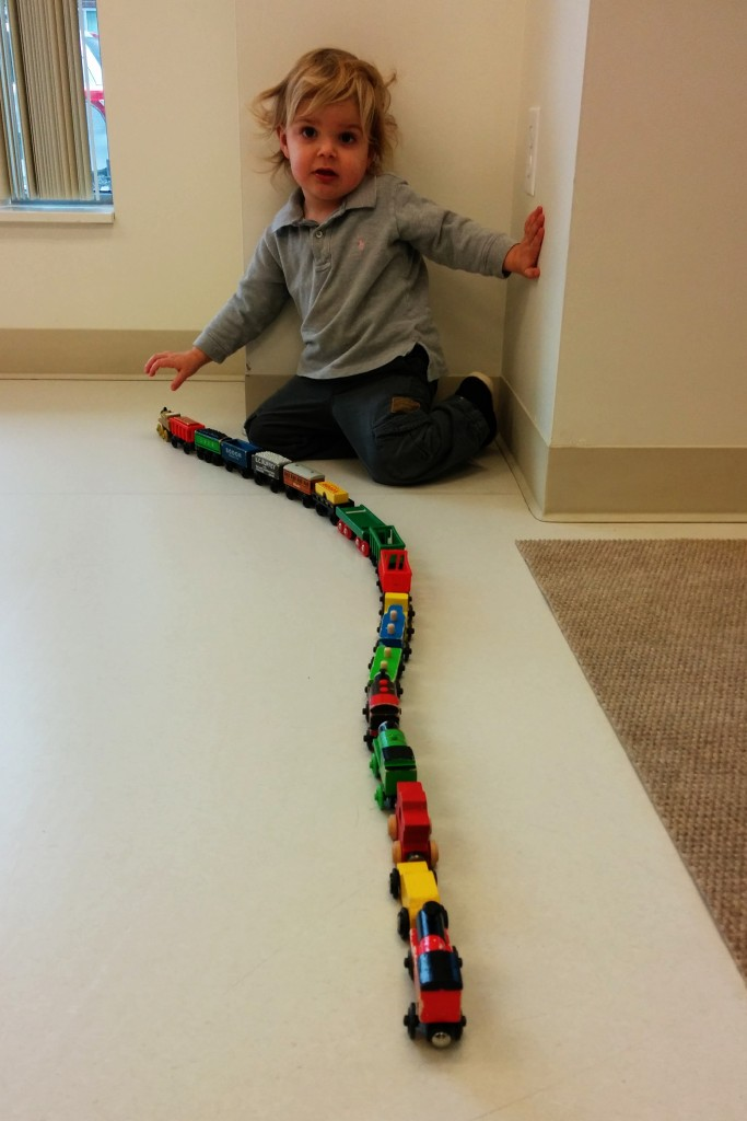 "Just a regular day at playgroup, building the ""longest train in the world."""