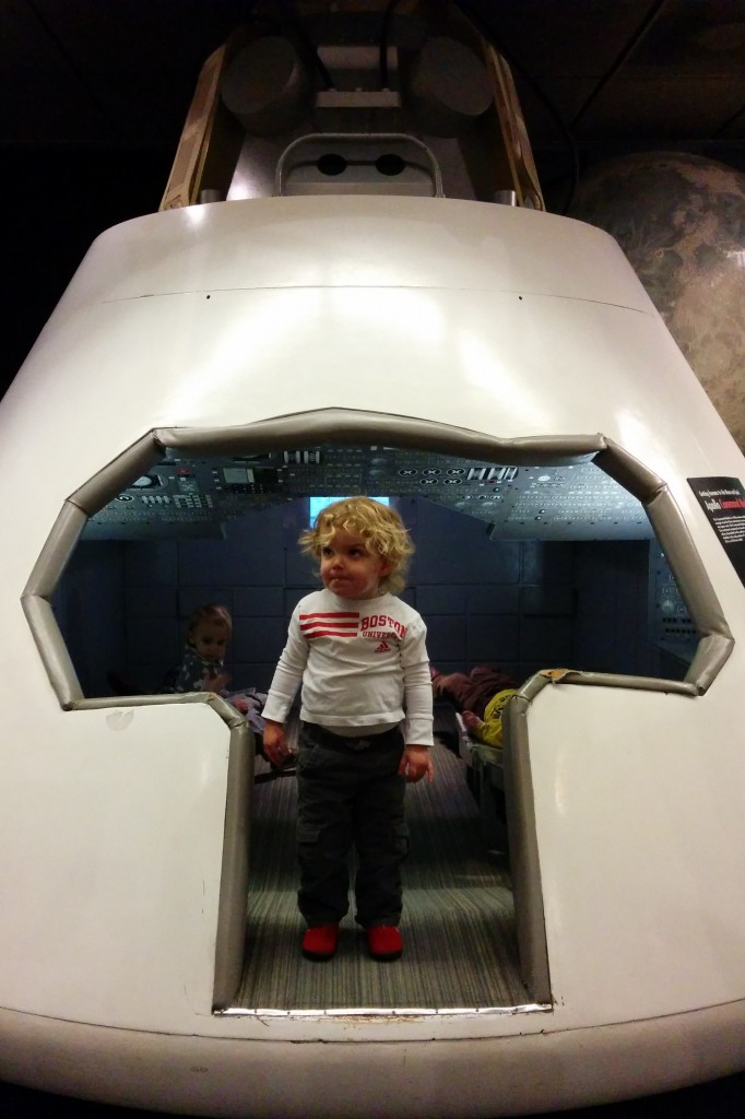 Tim's parents flew in for MLK day weekend, so we paid a visit to the Museum of Science together. Soren explored a spaceship.