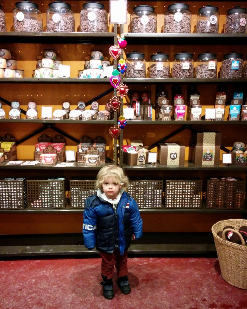 We paid a visit to Taza for some of our favorite chocolates in the world. I'm really proud that Soren still doesn't know what candy is, but he's wild about dark chocolate.