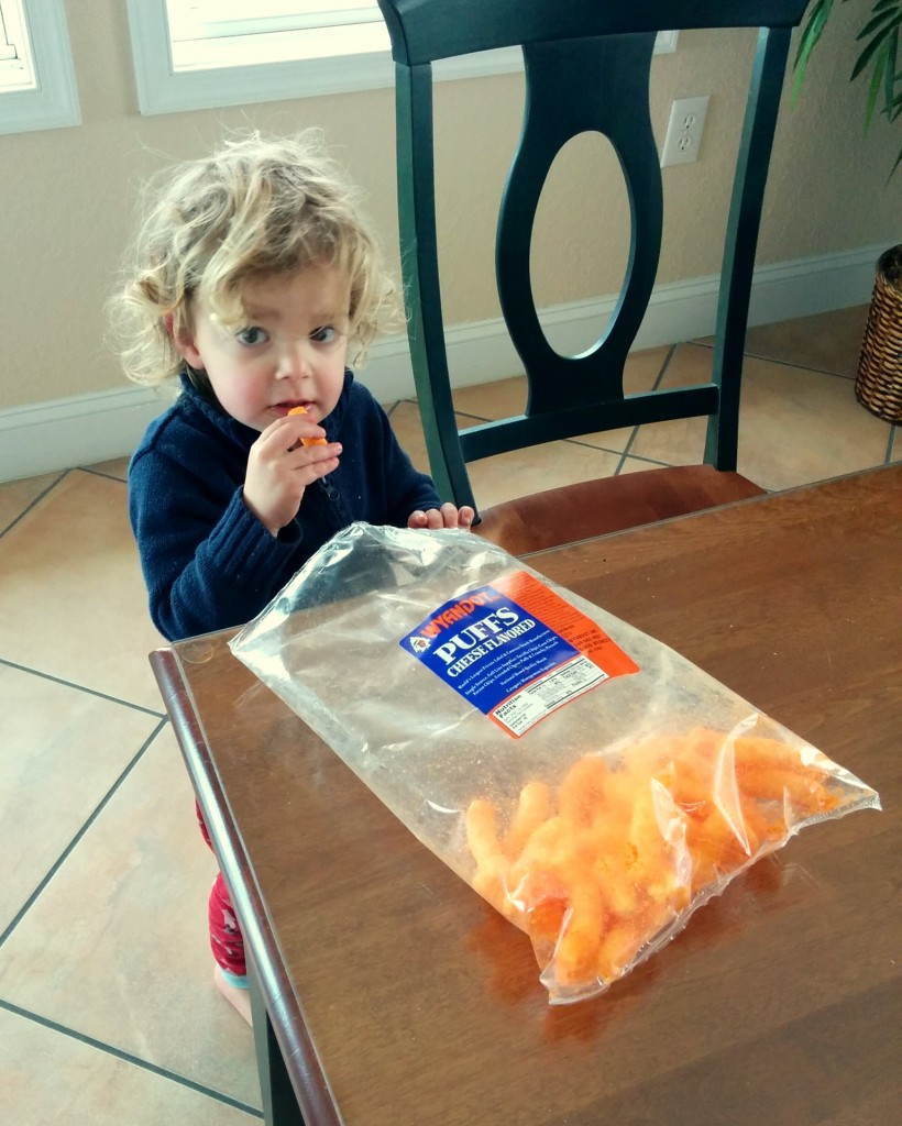 Back at the beach house, Soren made my day when he spied this bag of cheetos and asked if he could have a carrot. I didn't catch the question on video, but I got his reaction when he took a bite.