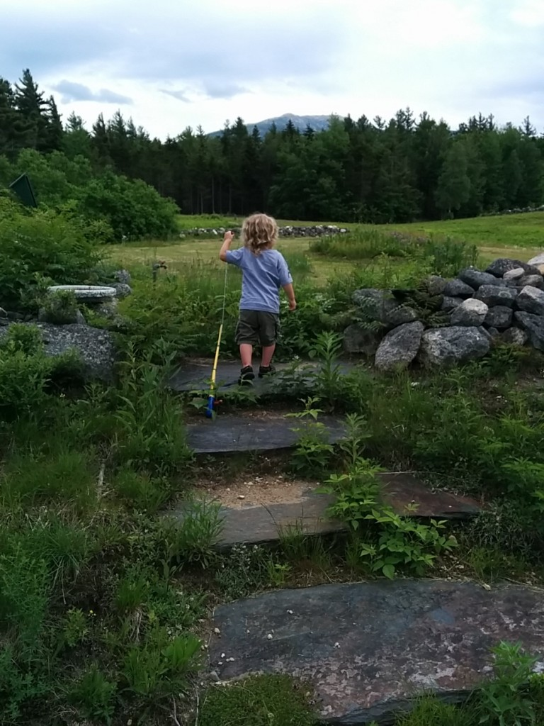 Soren latched on to this fishing pole and went in search of things to catch. He mostly ended up with pinecones.