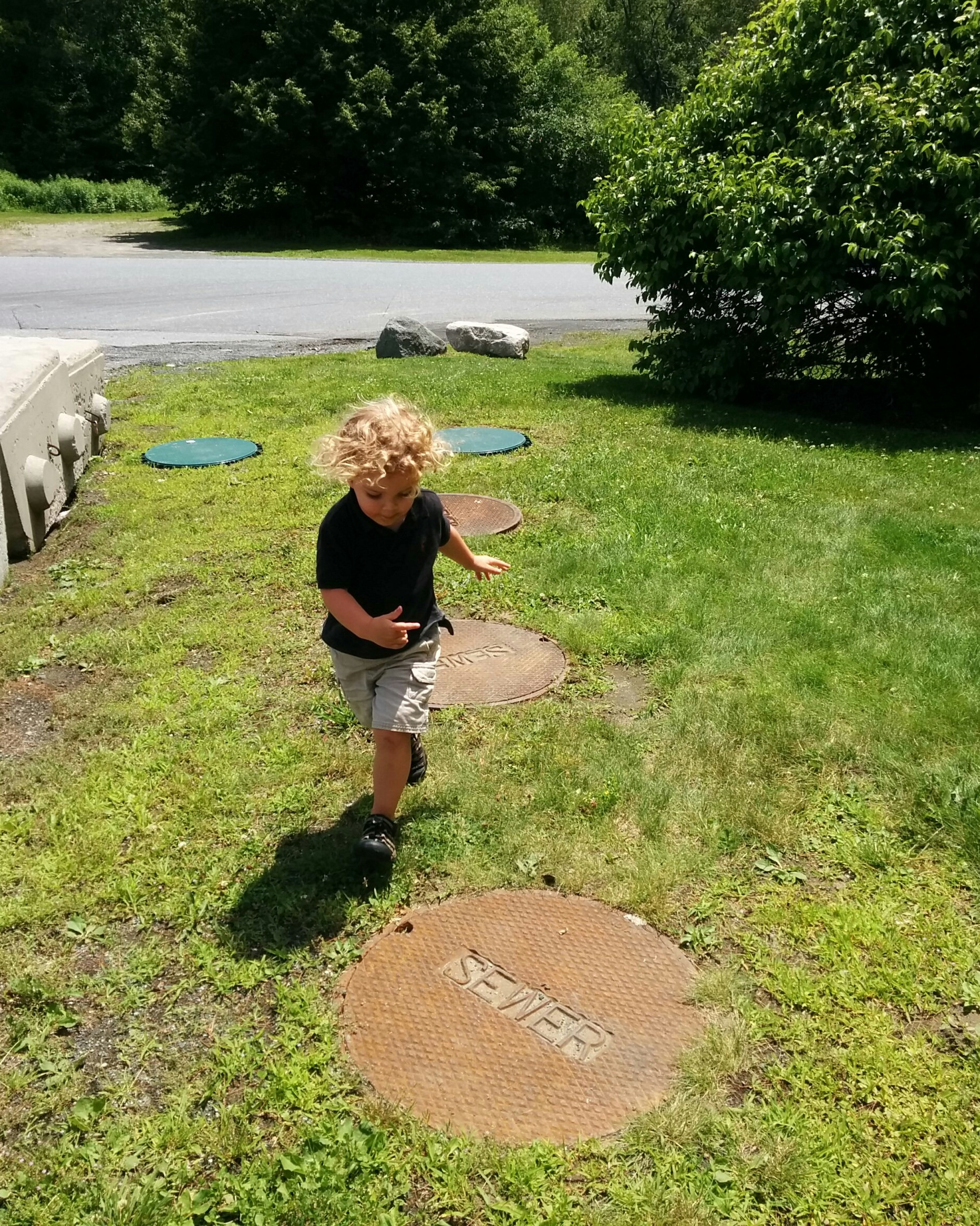 "We kicked off the fun with a gas station picnic and a game of what Soren labeled ""hopscotch."""