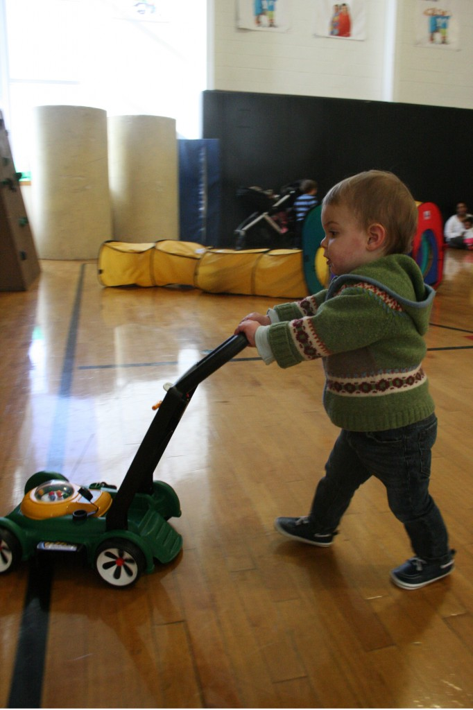 11 a.m. The lawnmower is a recent addition, and it's one of the hottest items in the gym. Soren is thrilled whenever he notices it's free.