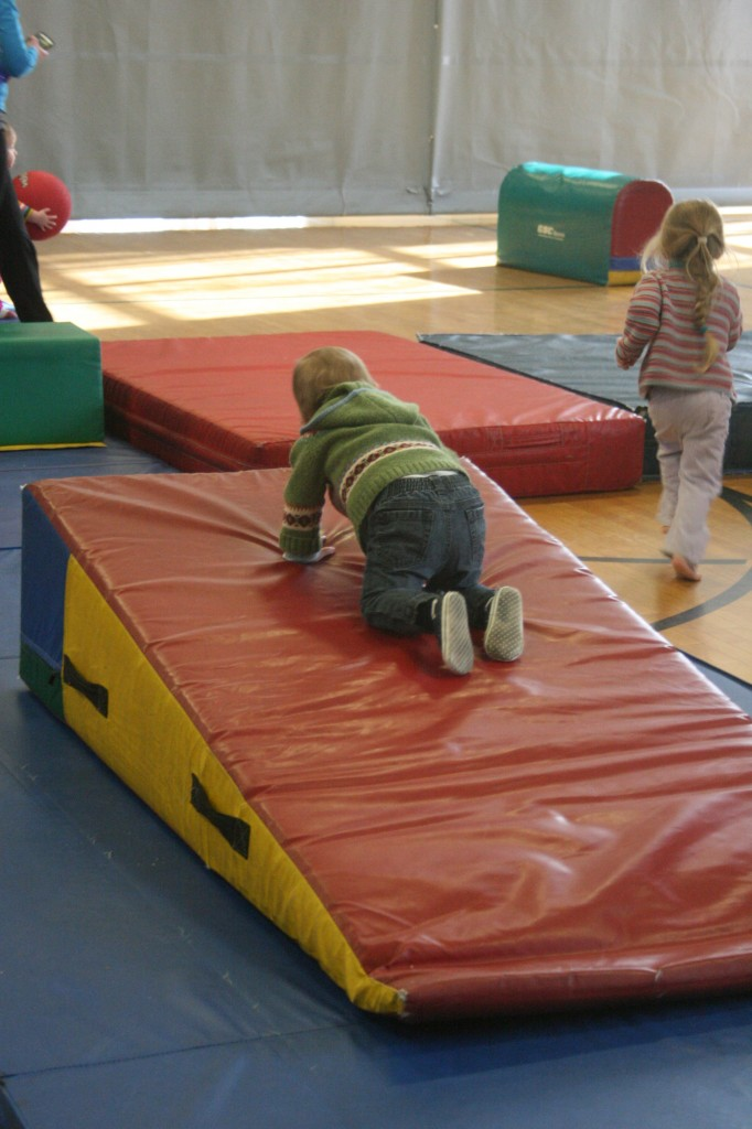 11:16 a.m. The various mats and wedges and other bouncy gymnastics apparatuses are the most fun of all.