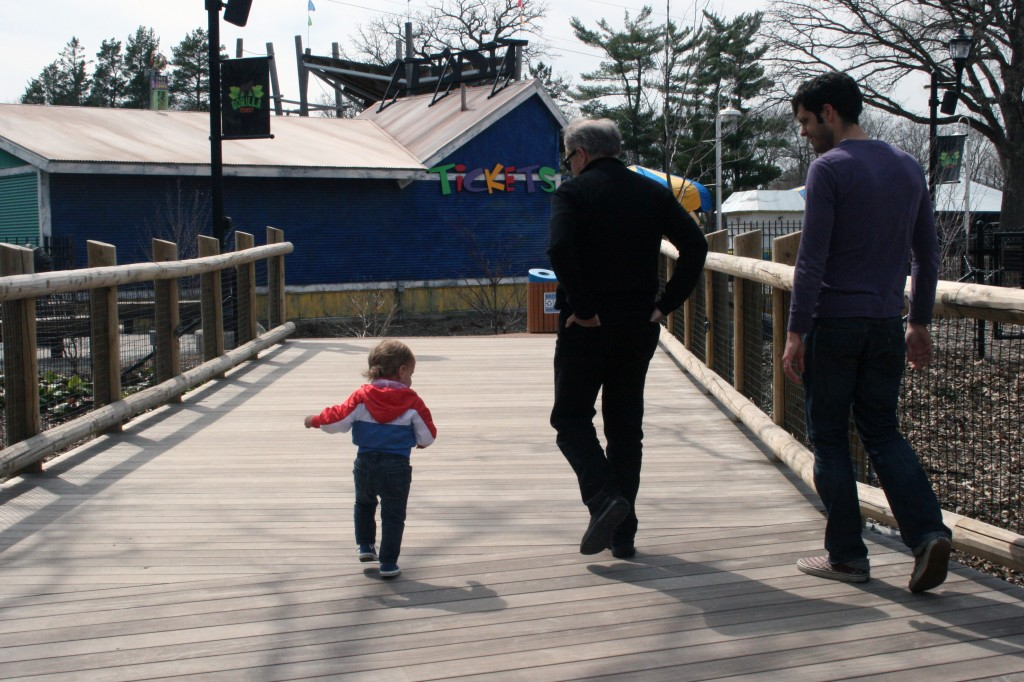 Three generations clip-clopping on the bridge.