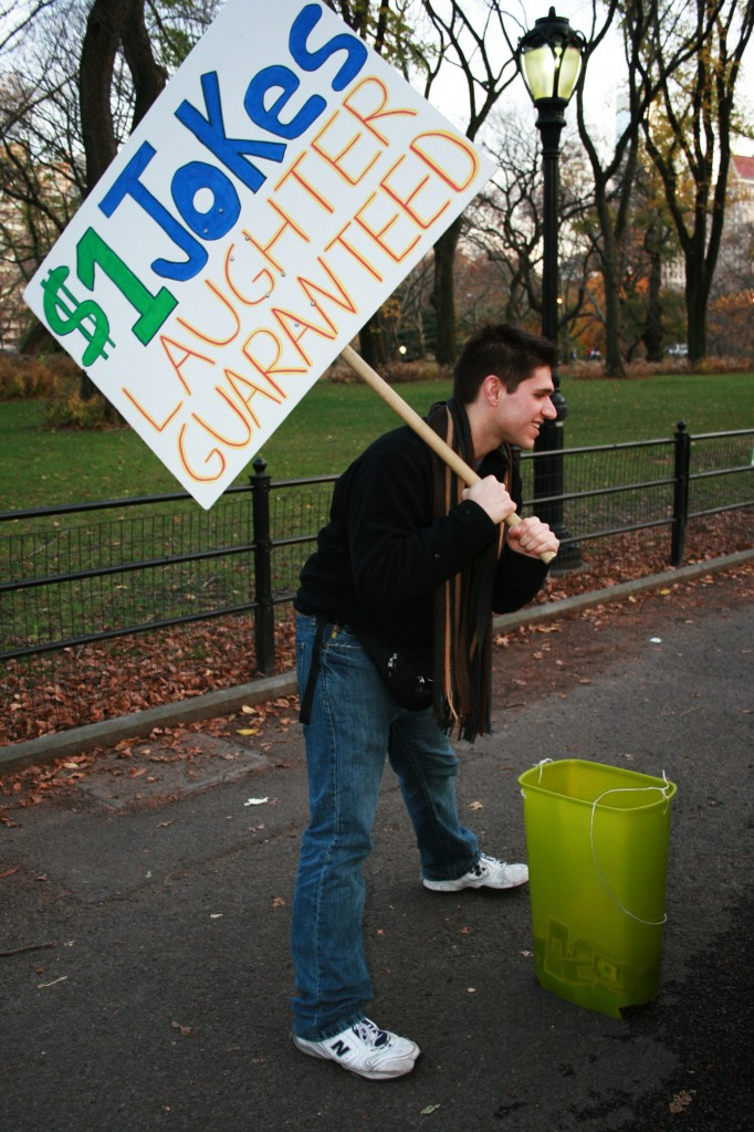 Jason Schneider's $1 jokes in New York's Central Park
