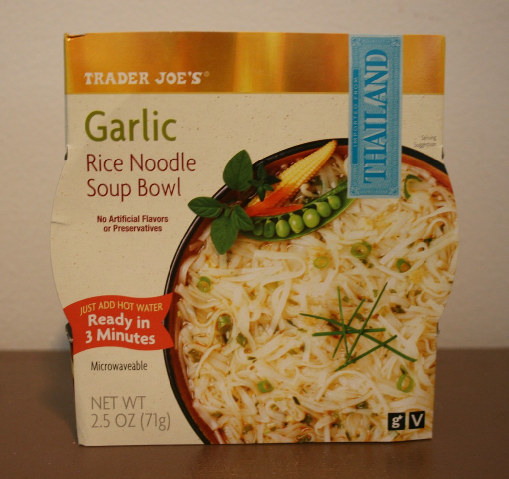 Trader Joe's garlic rice noodle soup bowl