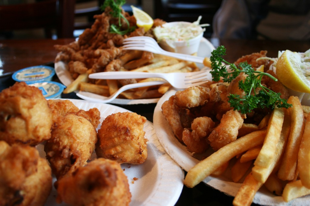 clam cakes, fried shrimp, and fried clam strips from Flo's Clam Shack in Middletown, Rhode Island