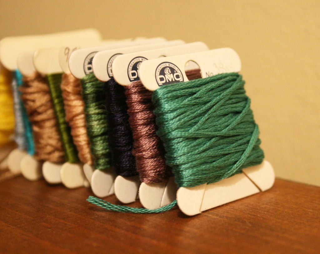 dmc embroidery floss cardboard bobbins