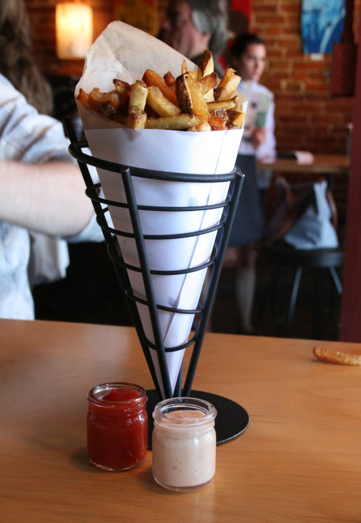 Fries and dipping sauces at Duckfat in Portland, Maine.