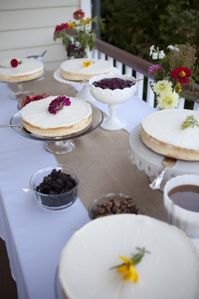 cheesecakes and homemade toppings as wedding desserts