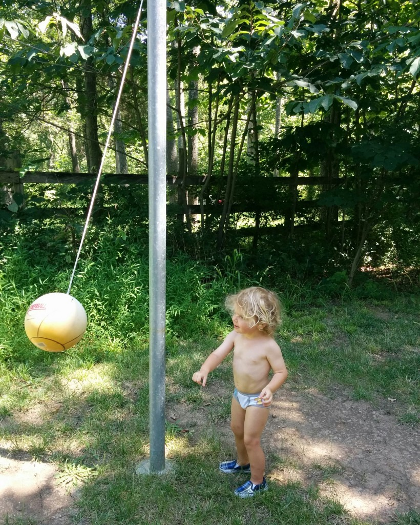 "Back in Ashburn, Soren lived for fun in the backyard. Clothing always optional. ""It's a wrecking ball!"" he says of Grandmama's tetherball game."