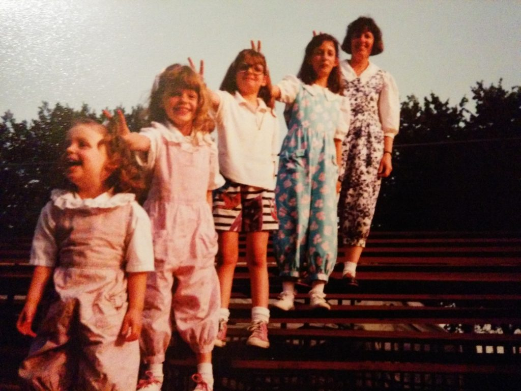 Proof that my mom is a supermom — she made us these coordinating rompers. I refused to wear mine.
